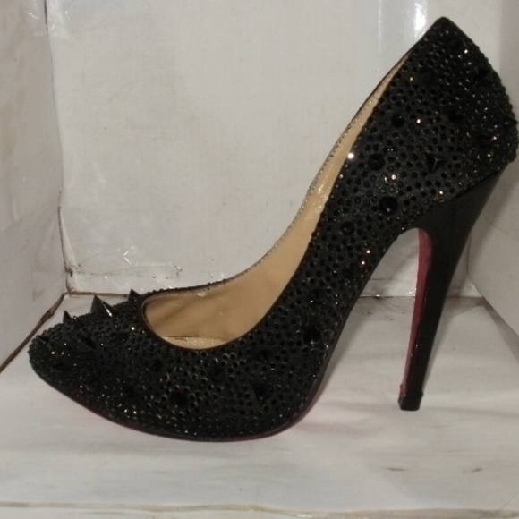 Christian Louboutin Shoes - Louboutin women s black leather spiked stilettos 260916a58e
